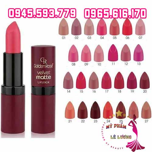 Son golden rose velvet matte lipstick-4